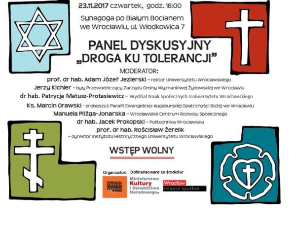 """Zapraszamy na Panel Dyskusyjny """"Droga ku tolerancji""""! (23.11.2017)"""
