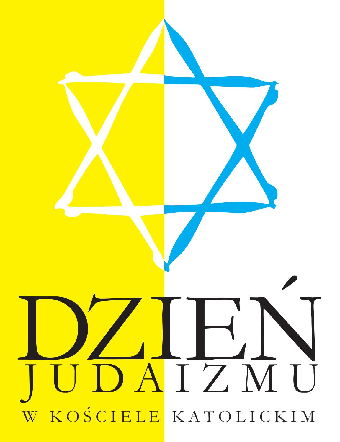 logo Dnia judaizmu - sześcioramienna gwiazda na biało-żółtym tle